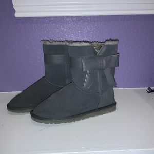 Gray UGG Leather Bow Boots